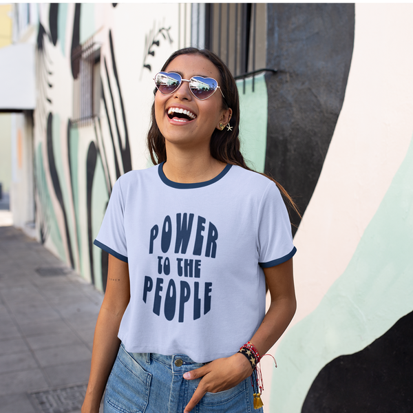 """POWER TO THE PEOPLE"" Retro Ringer T Shirt"