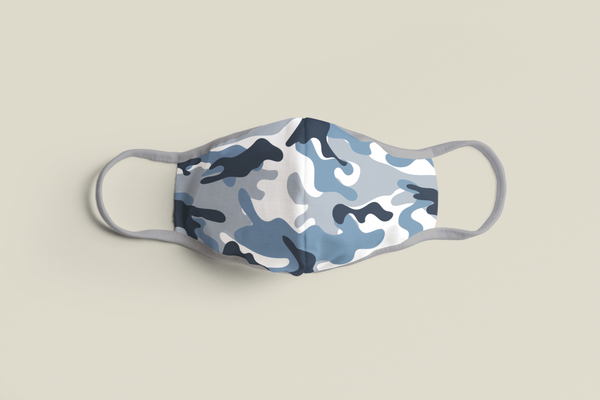 """Blue Camo"" Face Mask - Social Justice Social Club"