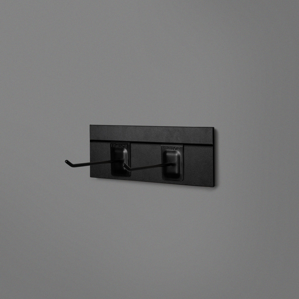 Black Floating Shelving Back Panel 300mm With 2 Black Prongs