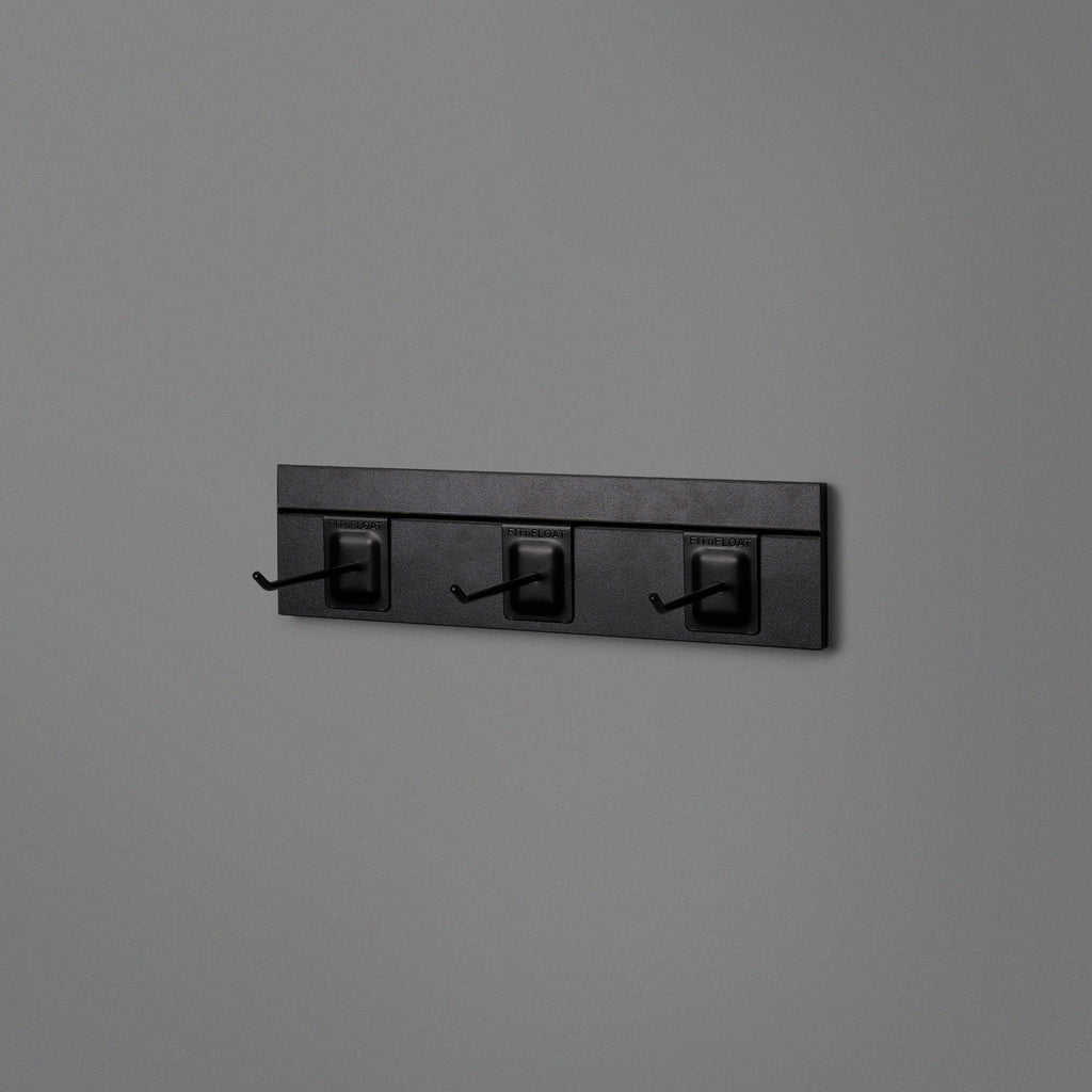 Black Floating Shelving Back Panel 400mm With 3 Black Prongs
