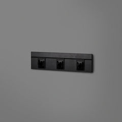 Black Floating Shelving Back Panel 400mm With 3 Black Hooks