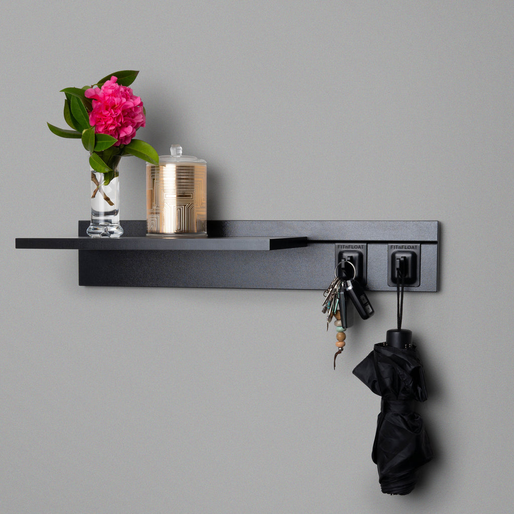 Black Adjustable Floating Shelving 600mm With Two Black Hooks Lifestyle