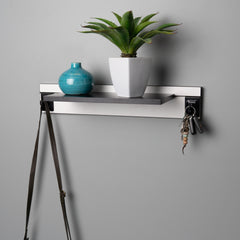 White Adjustable Floating Shelving 600mm With Two Black Hooks Lifestyle