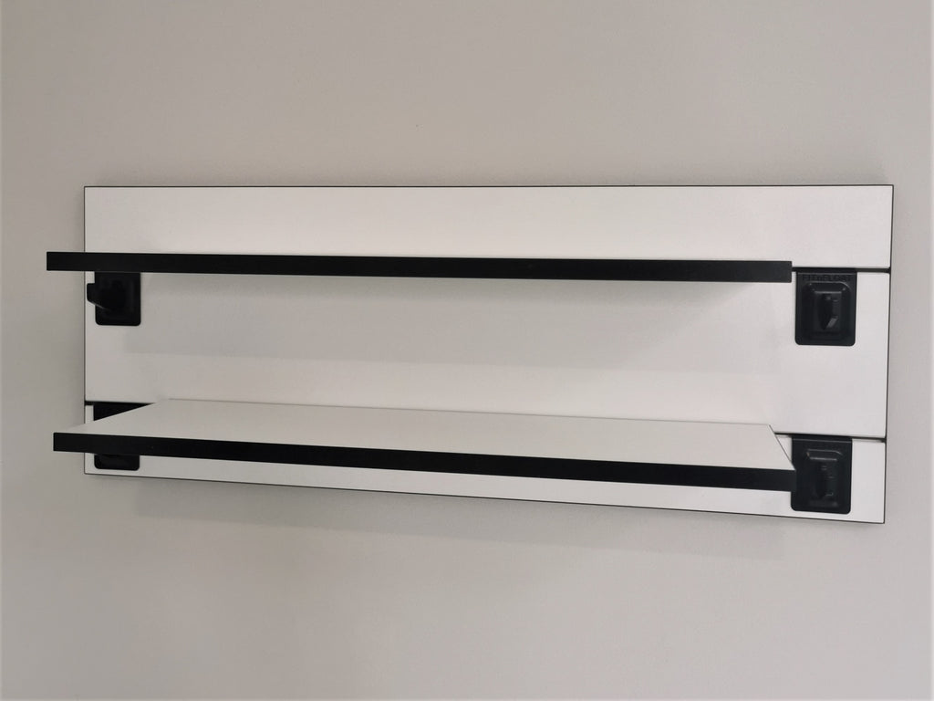 600mm Backpanel 2 lines with 2 x 400 Shelves plus 4 Hooks