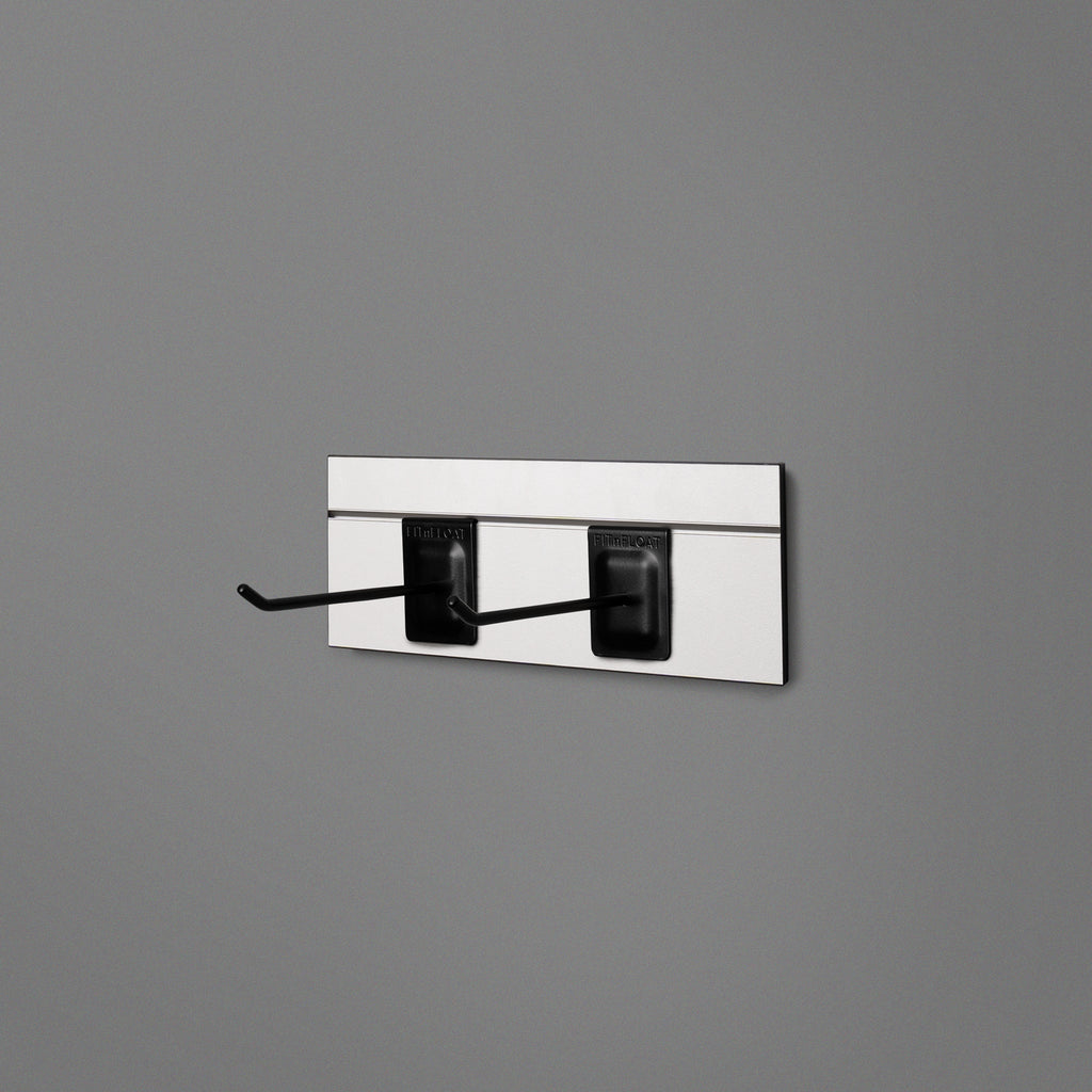 White Floating Shelving Back Panel With Two Black Prongs