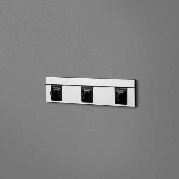 White Floating Shelving Back Panel With Three Black Hooks