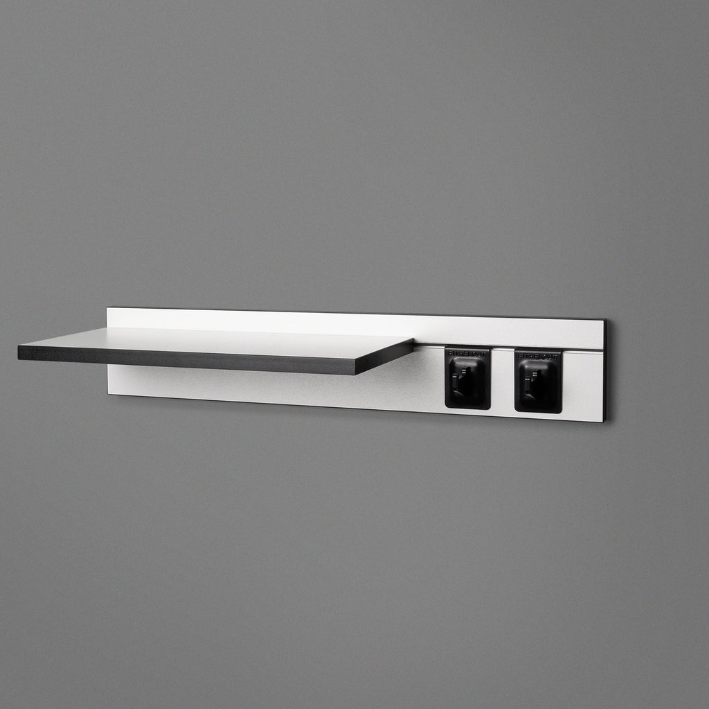White Adjustable Floating Shelving 600mm With Two Black Hooks