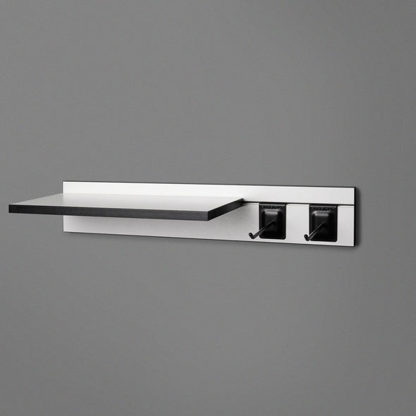 White Adjustable Floating Shelving 600mm With Two Black Prongs