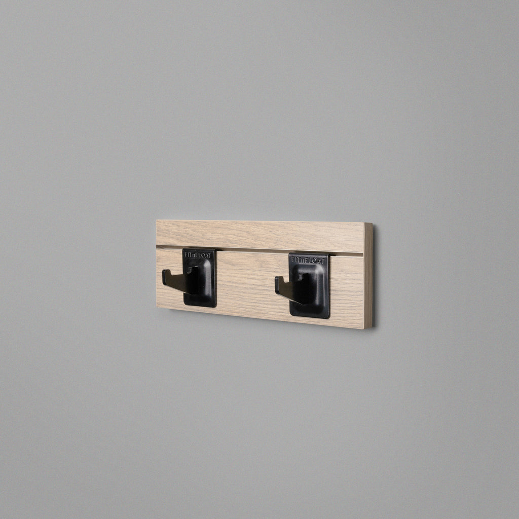Woodgrain Floating Shelving Back Panel With Two Black Hooks