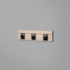 Woodgrain Floating Shelving Back Panel With Three Black Hooks