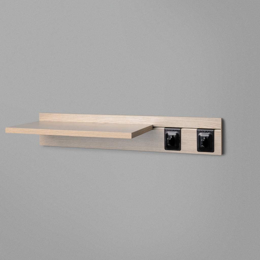 Woodgrain Adjustable Floating Shelving 600mm With Two Black Hooks