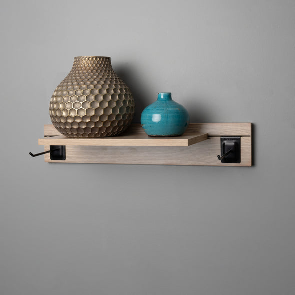 Woodgrain Adjustable Floating Shelving 600mm With Two Black Prongs Lifestyle