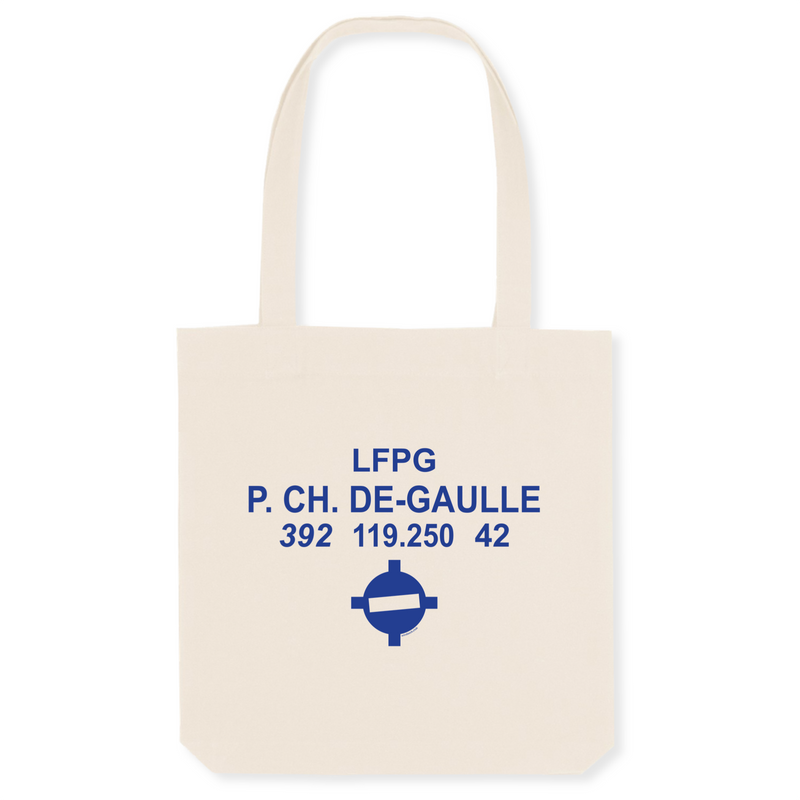 Tote bag coton bio | LFPG P. CH. DE-GAULLE - windsock.club