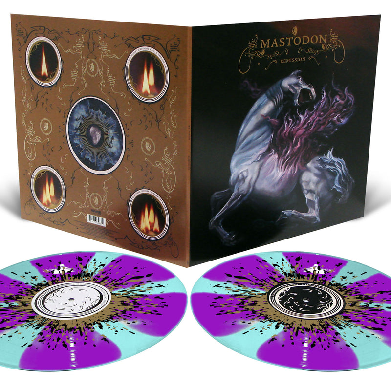 Mastodon 'Remission' Electric Blue with Purple Pinwheels and Metallic Gold and Black Splatter 2LP