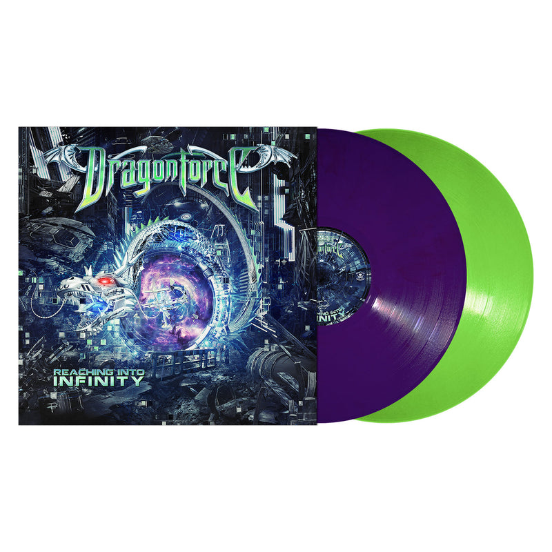 DRAGONFORCE 'REACHING INTO INFINTIY' PURPLE AND GREEN 2LP