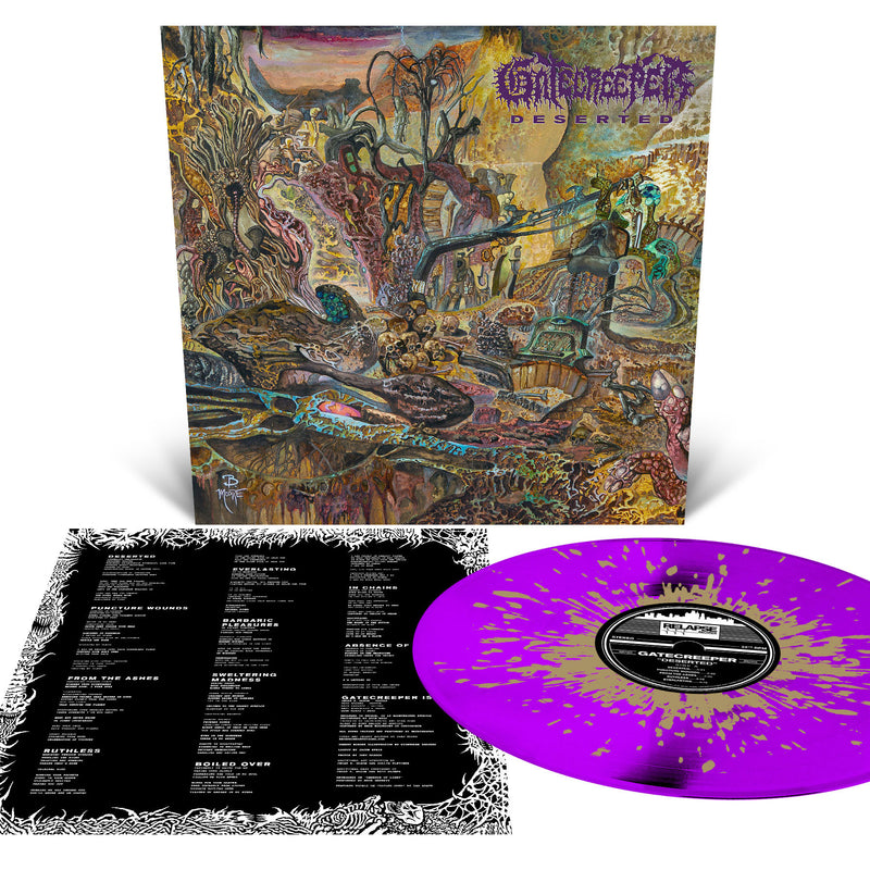 Gatecreeper 'Deserted' Neon Violet with Metallic Gold Splatter LP