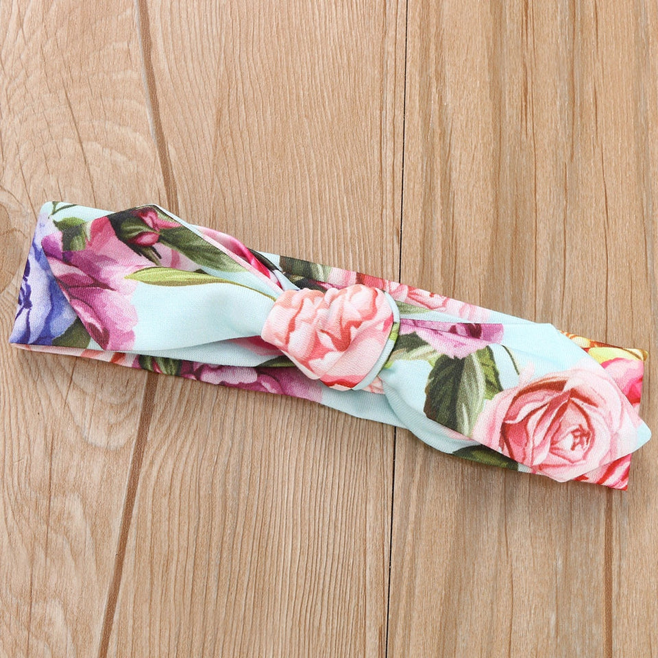 Polyester Muslin Baby Swaddle Blanket Floral W/ Headband