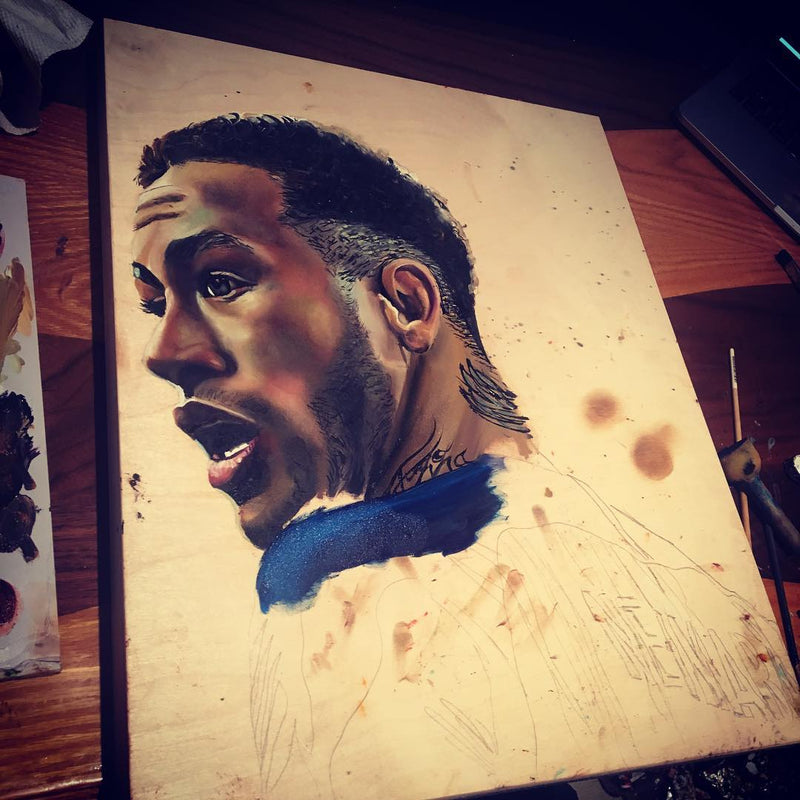 A painting in the process, featuring Neymar Jr.