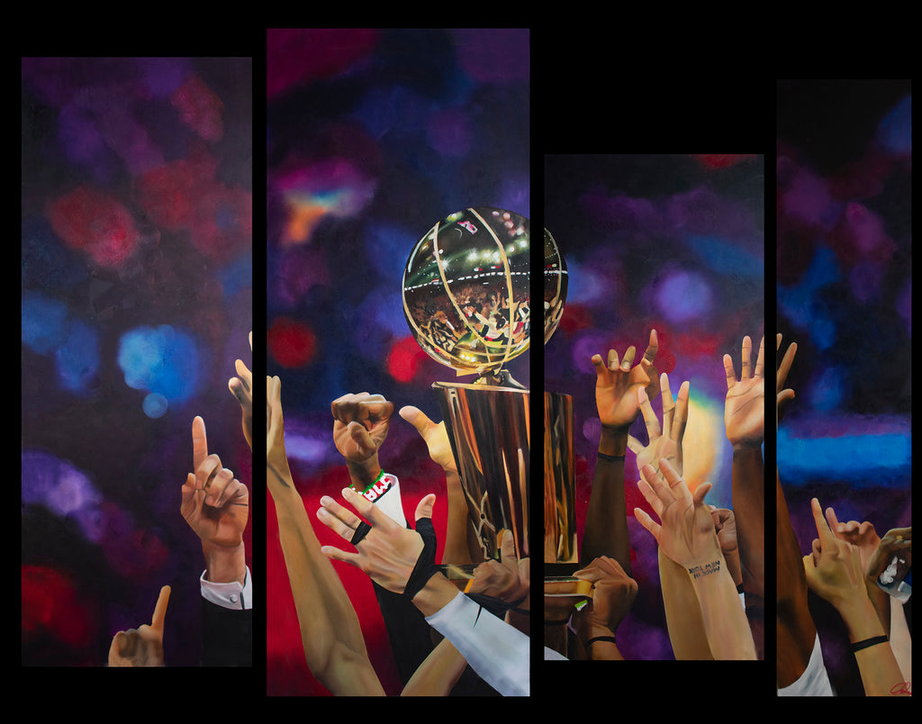 Four panel image of hands hold basketball trophy and cheering.