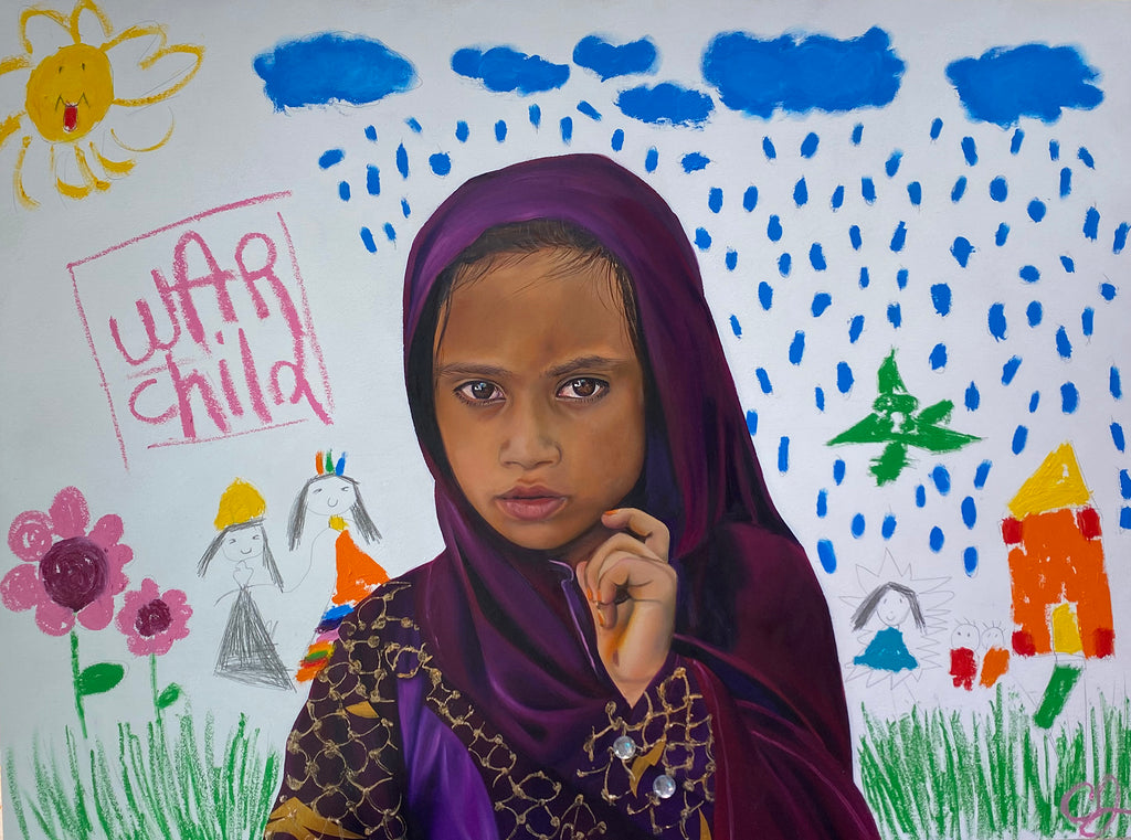 Painting of a girl with a neutral face with a kids drawn backdrop