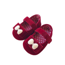 Load image into Gallery viewer, Burgundy Velvet Baby Shoes