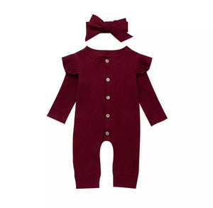 Sofia Cotton Romper - Burgundy