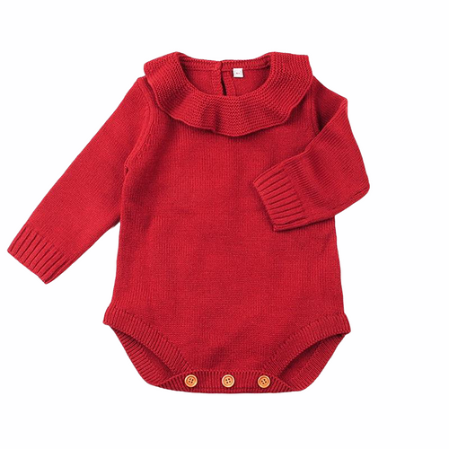Baby Wool Romper -Christmas Red
