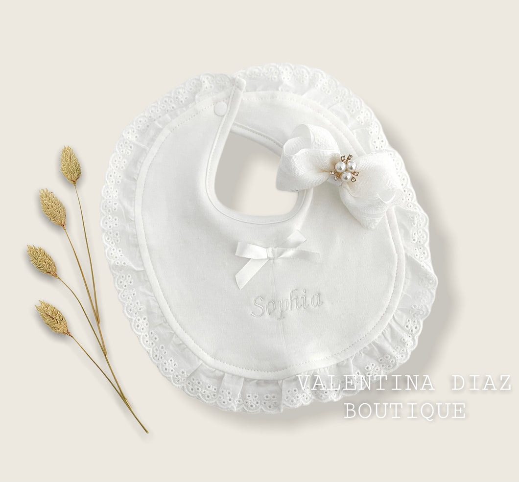 HairBow + White Lace Baby Bib Embroidery (Custom Name)