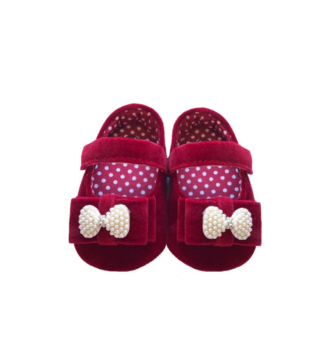 Burgundy Velvet Baby Shoes