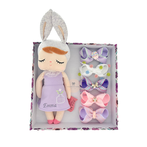 Gift Box Doll B -  5 Hairbows + Doll (Custom Name)