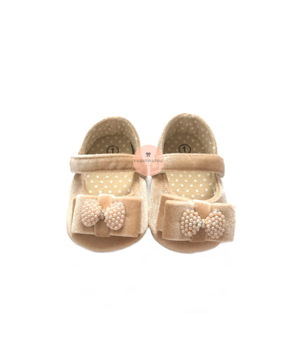 Beige Velvet Baby Shoes