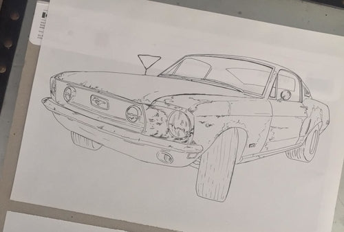 1968 Ford Mustang Fastback T-Shirt Design