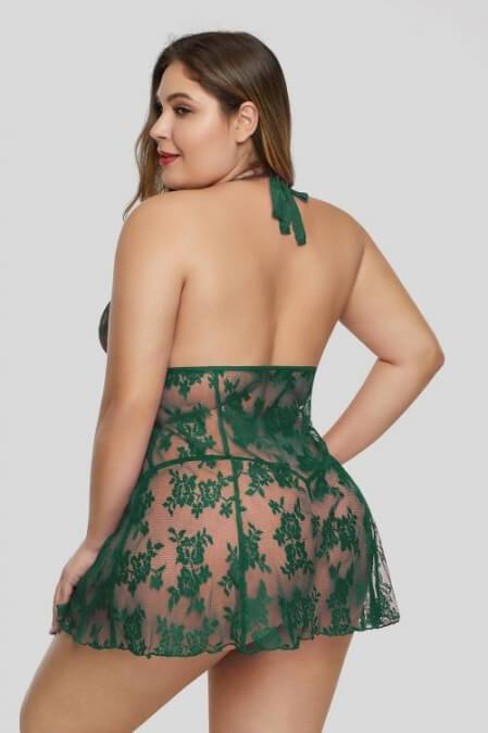 Green Open Back Floral Sexy Lace Plus Size Lingerie
