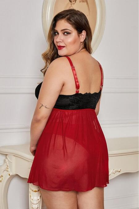 Red Lace Cup Tulle Skirt Plus Size Babydoll