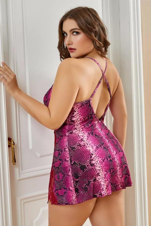 Red Lace Stitching Snake Print Plus Size Babydoll