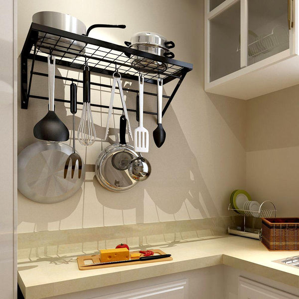 Kitchen Shelf With 10 Hooks Black