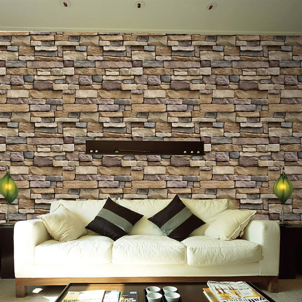 3D Stone Rustic Effect Self-adhesive Wall Stickers