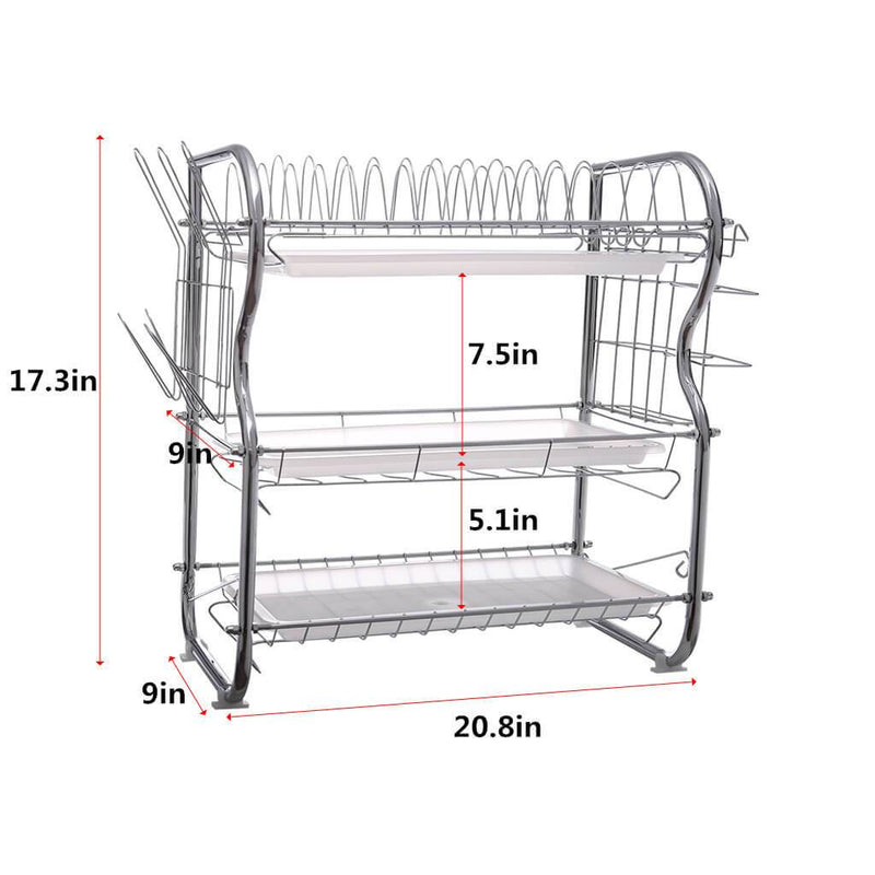 3-Tier Kitchen Wire Metal Mesh Shelf