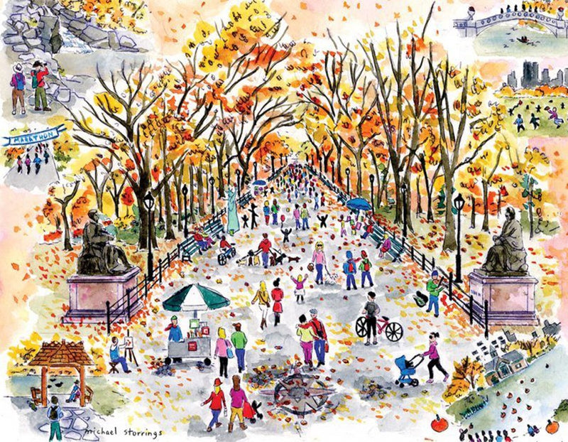 Autumn street 1000 Piece Puzzle (Wooden)