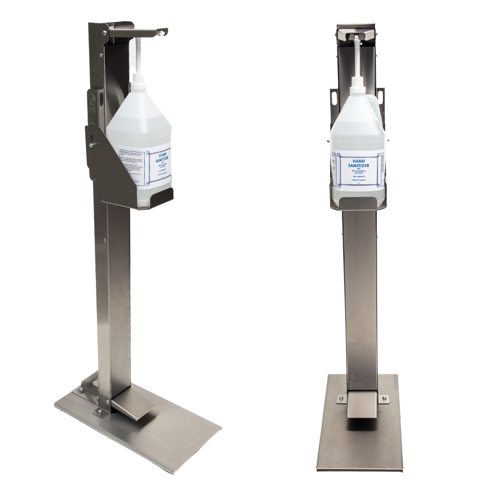 Free-Standing Hand Sanitizer Dispenser With Pump And Jug Front View Side View- Step On Germs