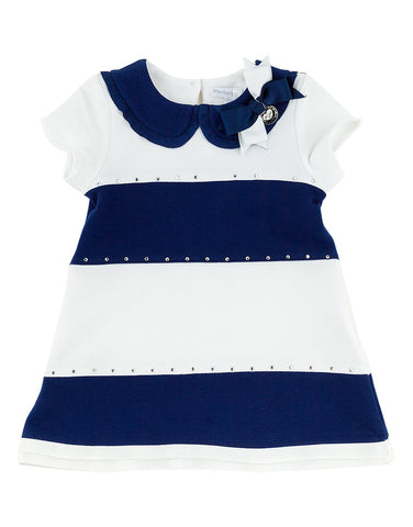Girls cotton white and blue dress - Artigli