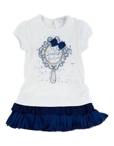 Girls short sleeves dress with blue hem - Artigli