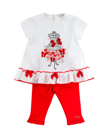 Girls  cotton white and red two piece set  - Artigli