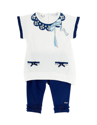 Girls  cotton white and blue two piece set  - Artigli