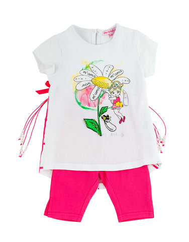 Girls  cotton two piece set with flower - Artigli