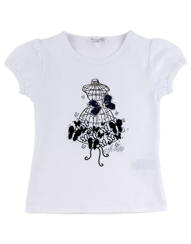 Girls white cotton top with butterflies - Artigli