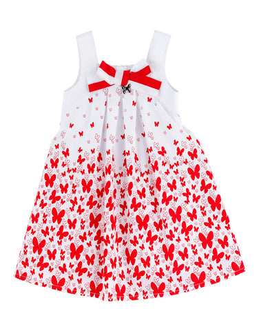 Girls white cotton dress with red butterflies - Piccola Ludo