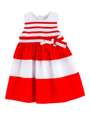 White and red stripy dress for girls - Artigli