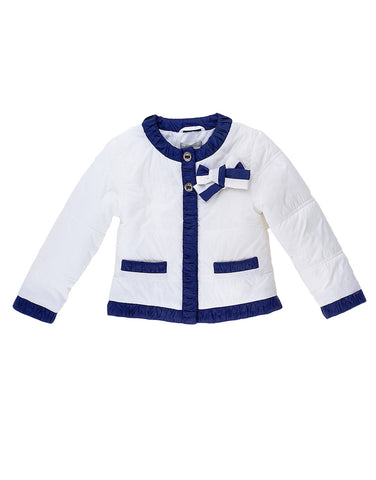 Girls white  cotton jacket with blue trims - Artigli