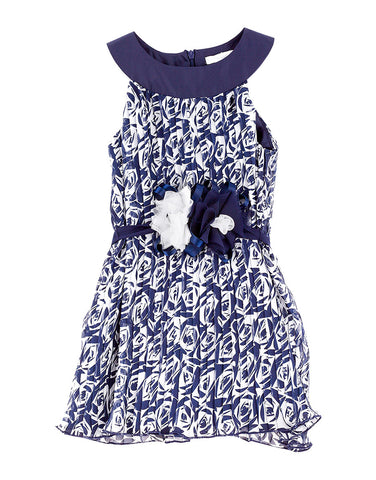 Girls blue cotton dress with white roses - Piccola Ludo